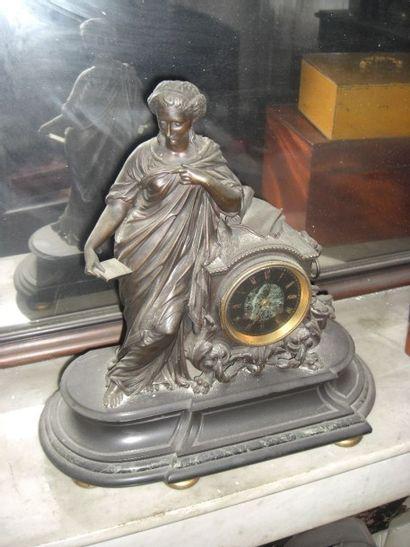 pendule marbre et bronze XIX