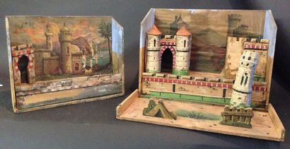 Deux forts en carton peint pour  soldats...