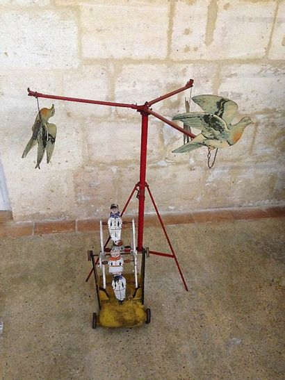 Grande roue en bois avec Pierrot et jeu de...
