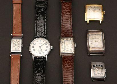 Lot composé de six montres:  - RULCY en acier,...