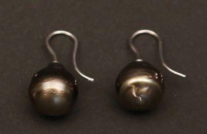 Boucles d'oreilles en argent ornées  chacune...
