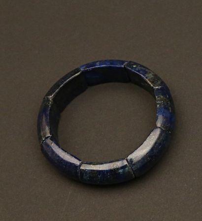 Bracelet articulé de plaques de Lapis la...