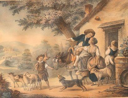 HUET Jean Baptiste (1745-1811) d'après  (Dessinateur)...