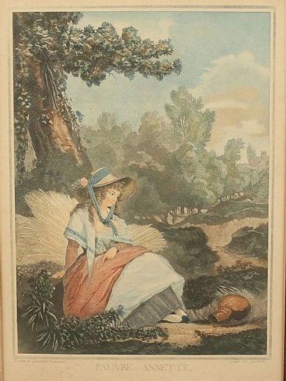 DEBUCOURT  Pauvre Annette  Gravure en couleur...