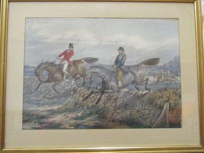 École Anglaise du XIXème siècle  Cavaliers...