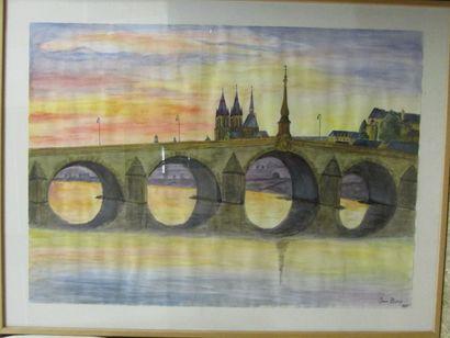 BURY Jean (XXème siècle)  Vue d'un pont...