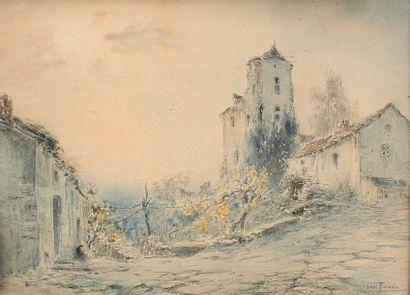 FOREAU Henri Louis (1866-1938).  Le village...