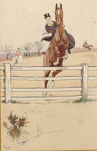 ALDIN Cecil (1870-1935)  Cheval et cavalier...