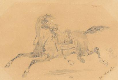 VERNET Horace (1789-1863)  Cheval au galop...