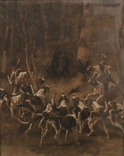 De CONDAMY Charles Fernand (1855-1913),  Meute...