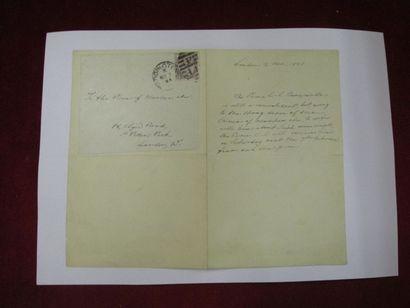 BONAPARTE Louis Lucien.  Billet autographe...