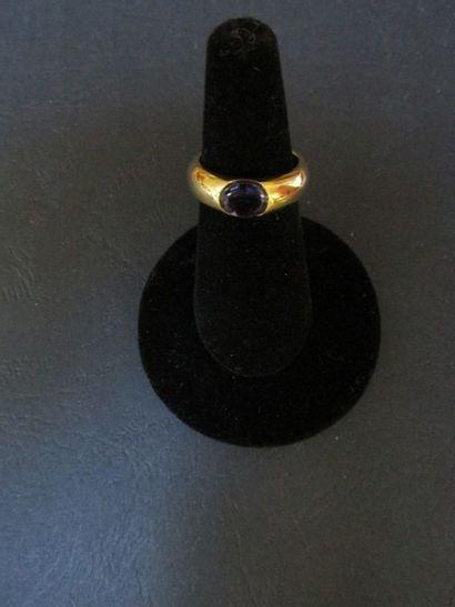 Bague en or jaune, en forme d'anneau, ornée...