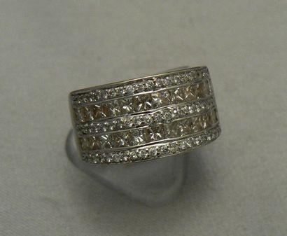 Bague anneau en or gris à deux lignes de...