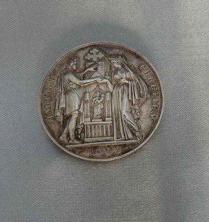 Médaille d'allégorie au mariage en argent,...