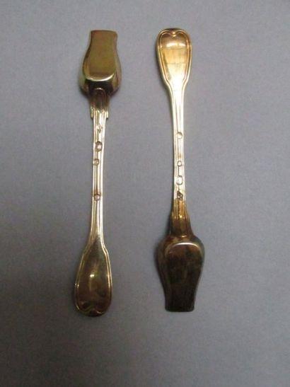 Paire de cuillères à sel en argent doré  (1809-1819),...