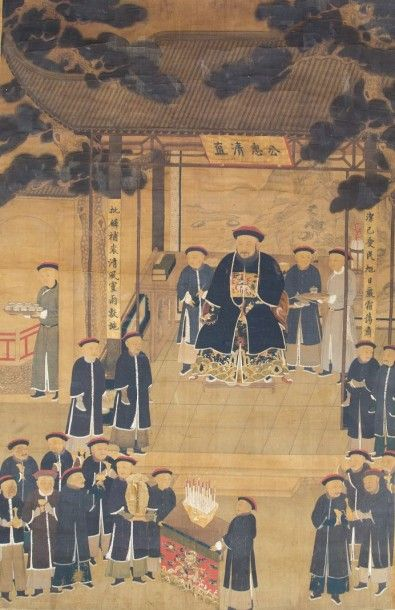 CHINE  Peinture sur soie polychrome représentant...