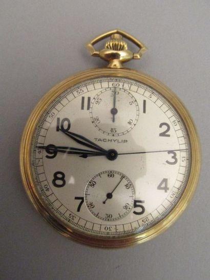 Montre de poche en or jaune, faisant  chronomètre,...