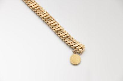 Bracelet en or jaune à maille américaine,...