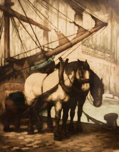 PEISER Kurt (1887-1962)  Chevaux aux docks...
