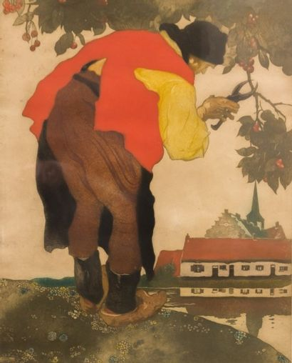 LANGASKENS Maurice (1884-1946)  Le cerisier...