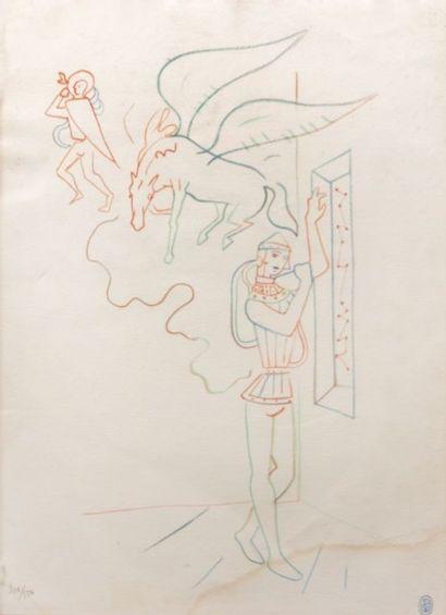 COCTEAU Jean (1889-1963)  Chevaliers et licorne...
