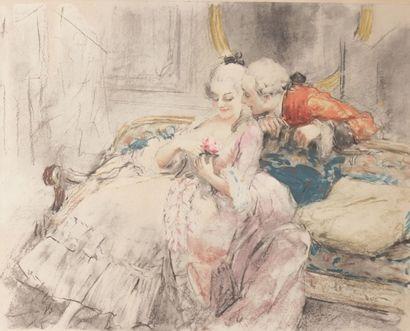 CALBET Antoine (1860-1944)  Scène galante...