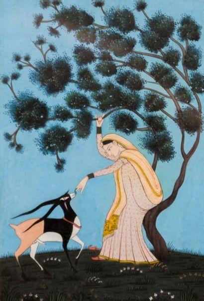 INDES  Deux miniatures représentant une femme...