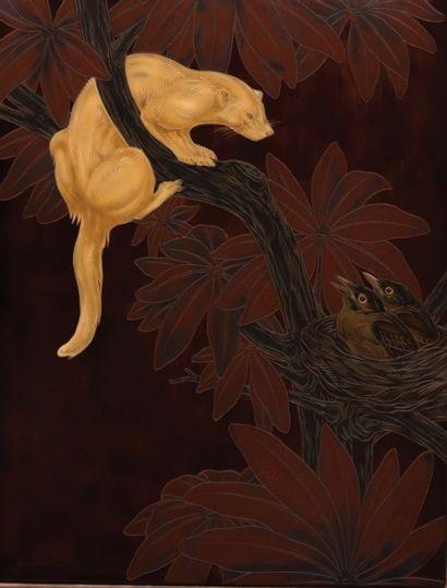 SUISSE Gaston (1896-1988)  Mangouste guettant un nid d'oiseaux  Panneau décoratif...