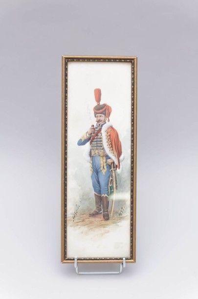 SCRIBE Antoine (XXème siècle)  Hussard fumant...