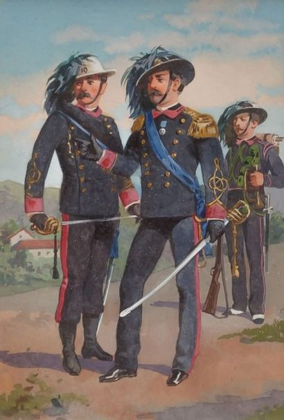 École française du XIXème siècle  Carabiniers...