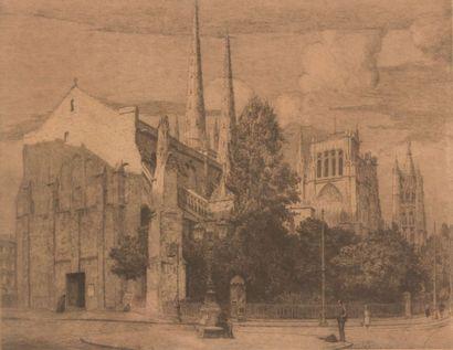 Anonyme du XIXème siècle  Vue de la cathédrale...