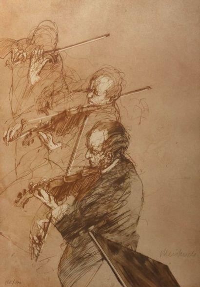 WEISBUCH Claude (1927-2014)  Les violonistes...