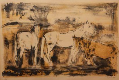 GUERRIER Raymond (1920-2002)  Chevaux camarguais...