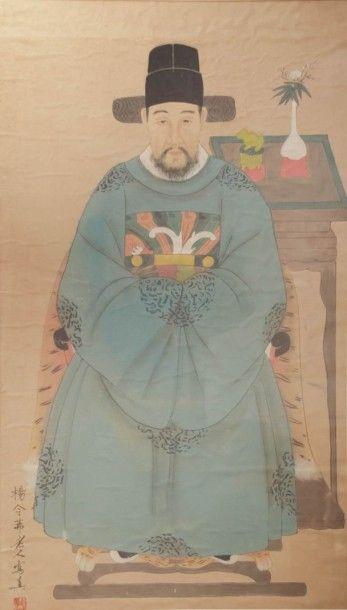 CHINE  Portrait de dignitaire au cachet et...