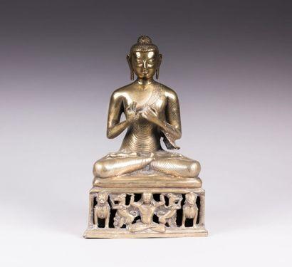 CHINE  Buddha Shakyamuni en bronze doré reposant...