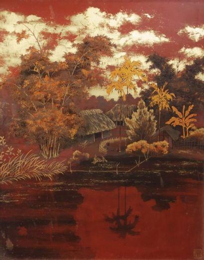 CHINE  Panneau décoratif en laque polychrome...
