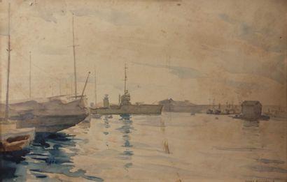 NIVARD André (1880-1969)  Porte-avions amarré...