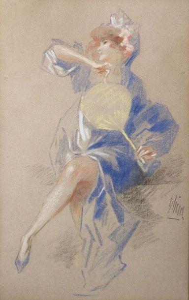 CHERET Jules (1836-1932)  Elégante à l'éventail...