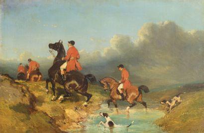 de DREUX Alfred (DEDREUX Pierre-Alfred  dit) (1810-1860)  Chasse à courre  Huile...