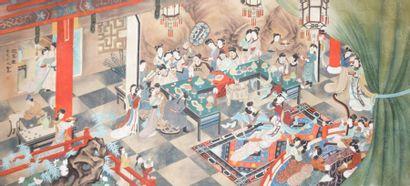 CHINE  Scène de palais  Peinture sur soie...