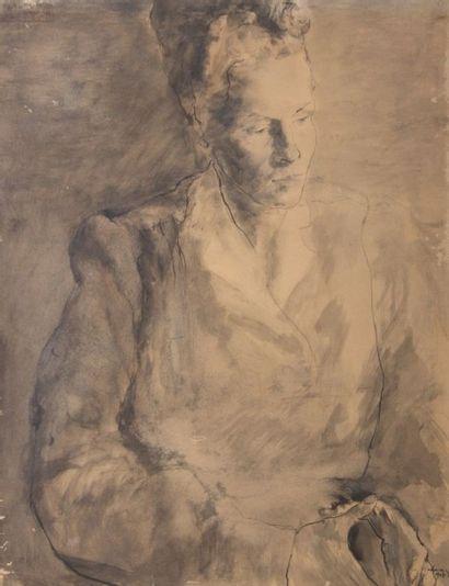 CHARAZAC Robert (1905-1982)  Femme pensante...
