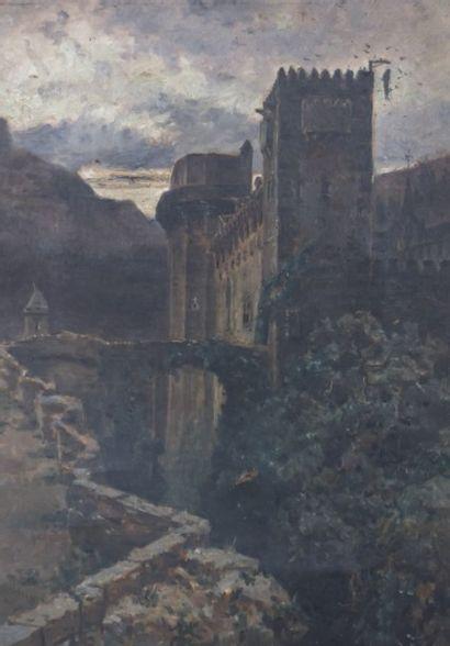 DEGRAIN M. (act. vers 1873)  Vue d'un château...