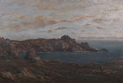 VERGEZ Eugène (1846-?)  Vue de falaise animée...