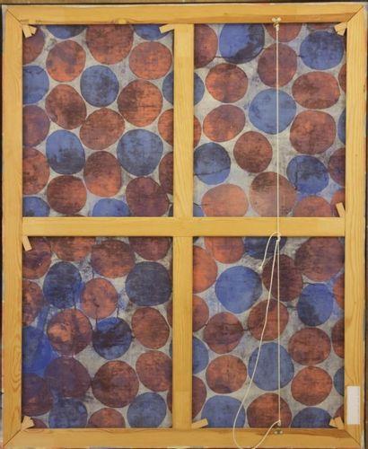 PINCEMIN Jean-Pierre (1944-2005) Composition géométrique en noir et beige Huile...