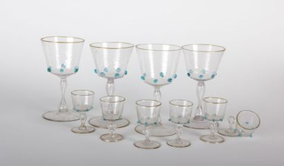 VENISE  Suite de quatre verres et six verres...