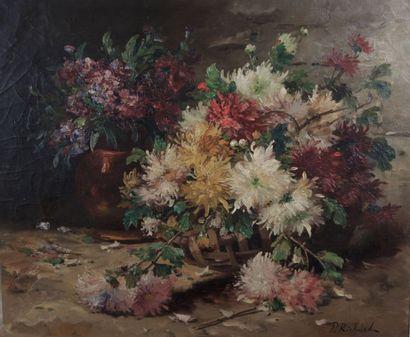 RICHARD P  Nature morte aux Chrysanthème...