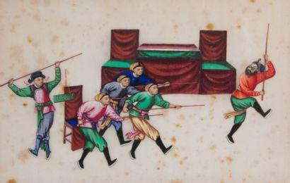 Suite de trois peintures polychromes sur...