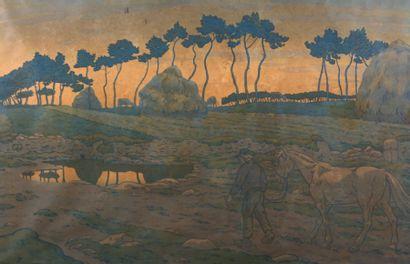 RIVIERE Henri (1864-1951)  Le crépuscule,...
