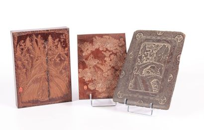 BIRMANIE  Boîte compartimentée en bois sculpté...
