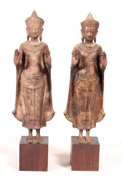 THAILANDE  Paire de bronze à patine doré...